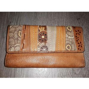 Fossil Real Leather Light Brown Patchwork Wallet